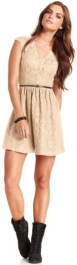Kensie Dress, V-Neck Short-Sleeve Lace A-Line