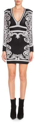 Balmain Long-Sleeve Deep-V Fitted Baroque Short Dress