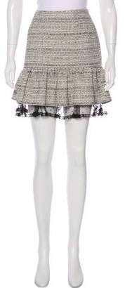 RED Valentino Tweed Lace-Accented Skirt