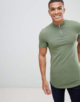 Asos DESIGN muscle fit longline zip neck turtleneck t-shirt with curved hem in green