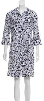 Burberry Floral Button-Up Dress Navy Floral Button-Up Dress