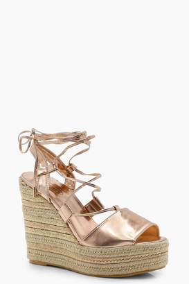 boohoo Tie Up Espadrille Wedges