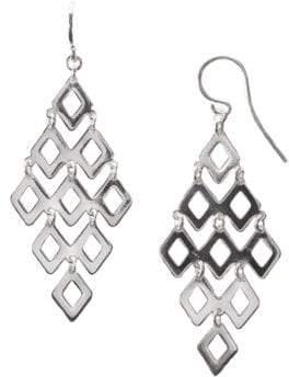Lord & Taylor Sterling Silver Diamond Link Drop Earrings