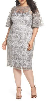 Adrianna Papell Flutter Sleeve Lace Sheath Dress