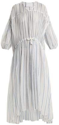 Binetti Love Drawstring Waist Striped Cotton Dress - Womens - Blue Stripe