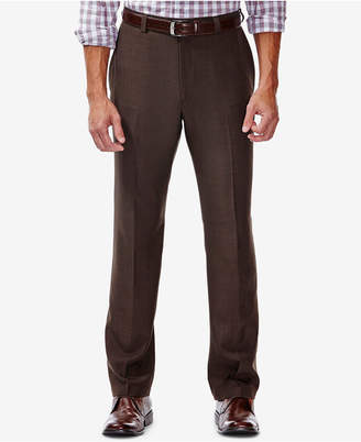 Haggar Men Eclo Stria Classic Fit Flat Front Hidden Expandable Dress Pants