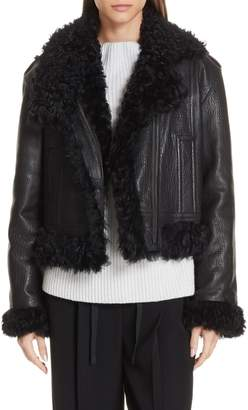 Vince Leather & Genuine Shearling Moto Jacket