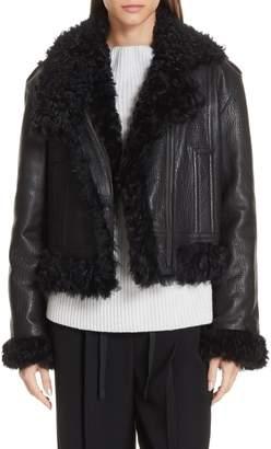 Vince Leather & Genuine Shearling Moto Jacket