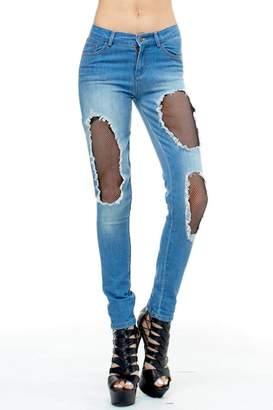 Tov High-Waisted Fishnet Jeans