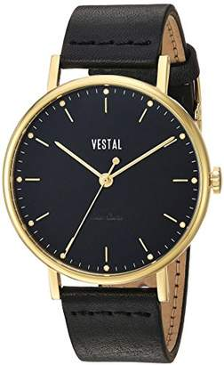 Vestal 'The Sophisticate' Quartz Stainless Steel and Leather Dress Watch