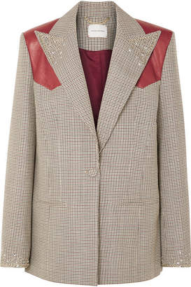Magda Butrym Arkansas Oversized Leather-trimmed Embellished Houndstooth Wool Blazer - Brown