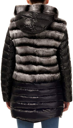 Gorski Horizontal-Ribbed Rabbit Fur Jacket with Detachable Down Trim