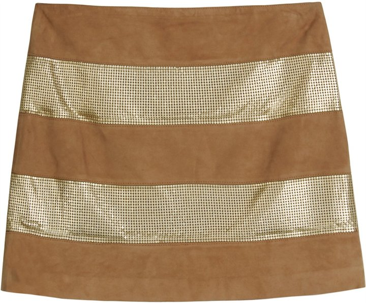 Haute Hippie Metallic Detail Leather Mini Skirt