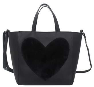 T-Shirt & Jeans Faux Fur Heart Tote Bag