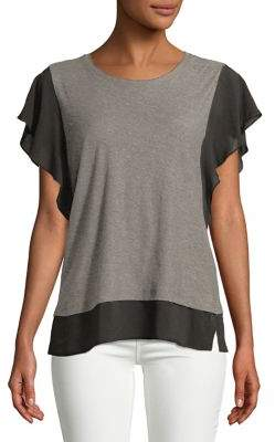 Vince Camuto Ruffle-Sleeve Mixed Media Top