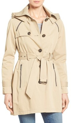 French Connection Single Breasted Skirted Trench Coat with Removable Hood $228 thestylecure.com