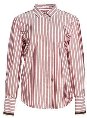 Brunello Cucinelli Women's Stripe Silk Shirt