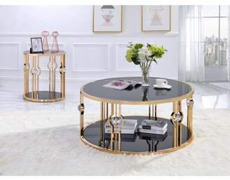 ACME Furniture Acme Daloris Metal Frame End Table in Gold and Black Glass