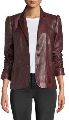 Rebecca Taylor Notch-Collar Button-Front Leather Jacket