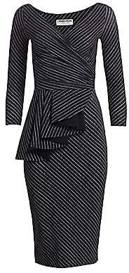 Chiara Boni Women's Ariane Pinstriped Ruffled Sheath Dress
