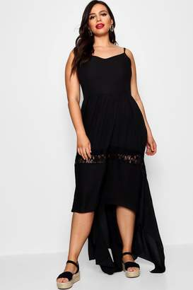boohoo Plus Crochet Star Trim Dip Hem Dress