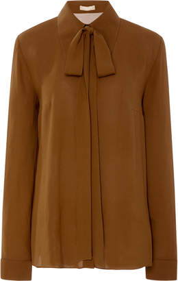 Michael Kors Pussybow Button Down Silk-Chiffon Blouse