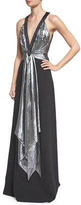 Michael Kors Sleeveless Draped-Front Gown, Black $6,395 thestylecure.com