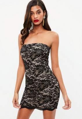 Missguided Black Lace Bandeau Bodycon Mini Dress