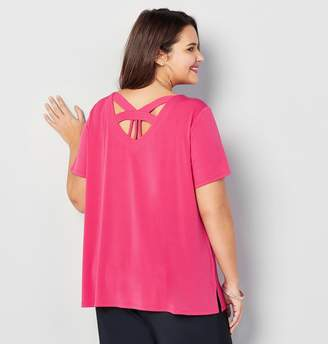 Avenue Caged Back Short Sleeve Top