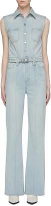 Current/Elliott 'The Zenith' belted button front sleeveless denim jumpsuit