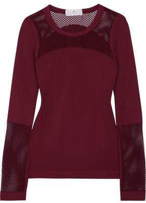 adidas by Stella McCartney Essential Training Mesh-Paneled Stretch-Jersey Top