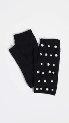 Carolina Amato Imitation Pearl Fingerless Gloves