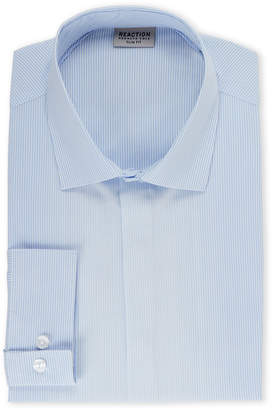 Kenneth Cole Reaction Soft Blue Slim Fit Stripe Dress Shirt