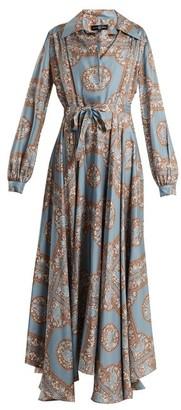 Edward Crutchley - Tie Waist Monkey Print Silk Dress - Womens - Blue Multi