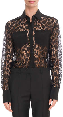 Givenchy Leopard Mesh Two-Pocket Blouse