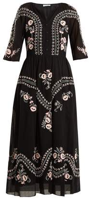 Vilshenko Geneve Embroidered Short Sleeve Cotton Dress - Womens - Black Multi