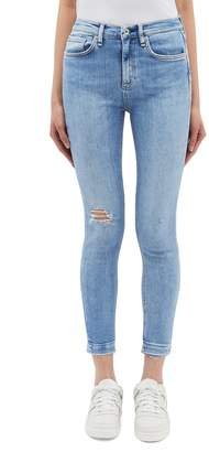 Rag & Bone Let-out cuff ripped skinny jeans
