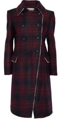 Pierre Balmain Double-Breasted Checked Brushed Felt Coat