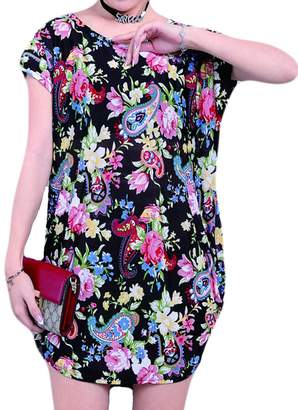 Milis Women's Summer Short Sleeve Casual Floral Printed Dress Loose Top Blouses