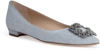 Manolo Blahnik Hangisi Flat silver glitter FMC ballerina