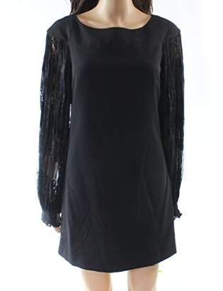 Laundry by Shelli Segal Women's Shift Dress with Pleated Lace Insert Sleeve