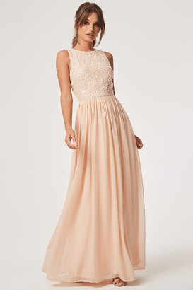 405e3dc6f56 Little Mistress Luxury Anya Nude Hand Embellished Sequin Maxi Dress