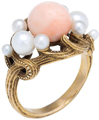 One Kings Lane Vintage 21k Art Nouveau Coral & Pearl Ring - Precious & Rare Pieces