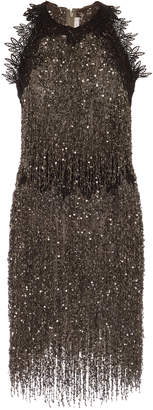 Naeem Khan Beaded Fringed Tulle Mini Dress