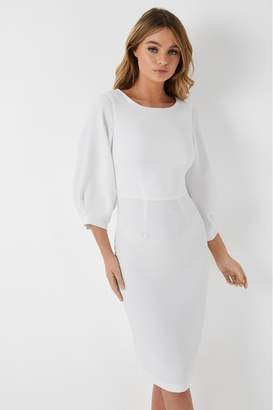Closet Womens Pleated Sleeve Pencil Dress - White