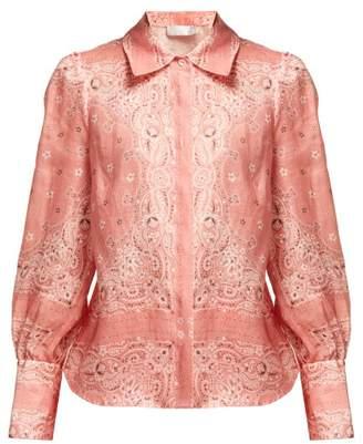 Zimmermann Heathers Bandana Print Linen Shirt - Womens - Pink Print