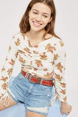 Topshop Ruched Long Sleeve Floral Top