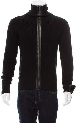 Gucci Leather-Trimmed Wool Cardigan