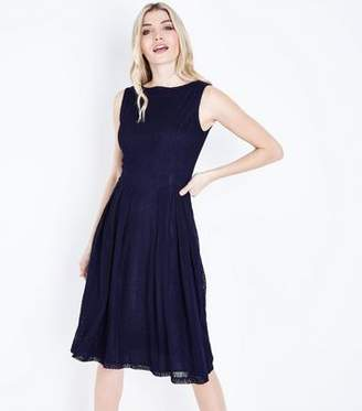 Yumi Navy Textured Stripe Prom Dress