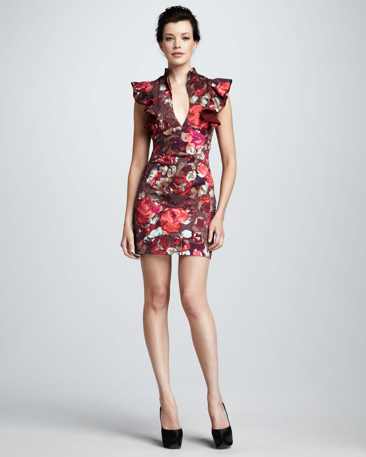 Black Halo Eva Floral-Print Dress